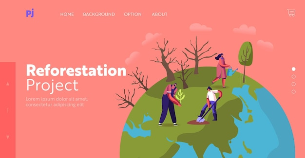 Revegetation, forest restoration and planting trees landing page template. volunteer characters care of green plants watering, save nature, environment protection. cartoon people vector illustration
