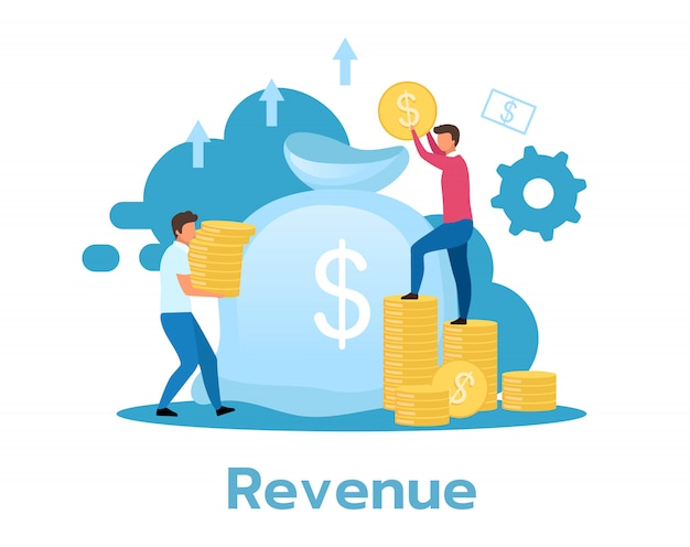 Revenue flat illustration. income, profit concept. business model. financial benefit. return on investment. people collecting coins. isolated cartoon character on white background