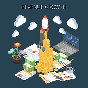Revenue growth isometric composition increase of profit from successful start up project on dark