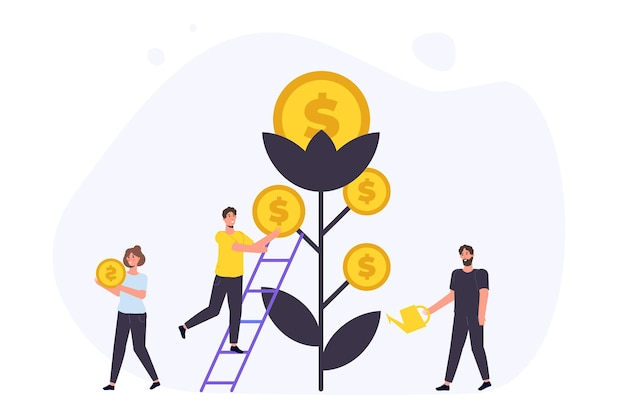 Revenue increase, money tree, high budget concept with happy businessman. investment profit.