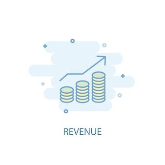 Концепция линии доходов. значок простой линии, цветные рисунки. символ дохода плоский дизайн. может использоваться для ui / ux