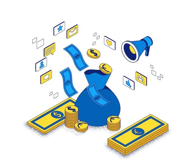広告費の概念、マーケティングキャンペーンからの投資収益率の3dアイソメトリックイラスト、ビジネスマンが広告レポートを分析する、経済的な成功の背景