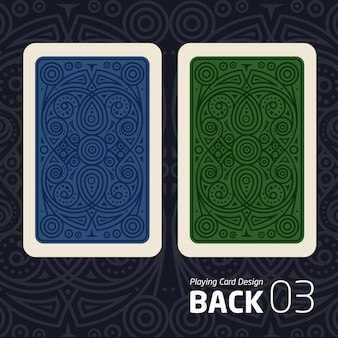 The reverse side of a playing card for blakjak other game with a pattern.