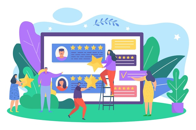 Review by customer feedback concept, vector illustration. application service with people experience quality rating. flat man woman character give satisfaction star to screen, positive opinion.