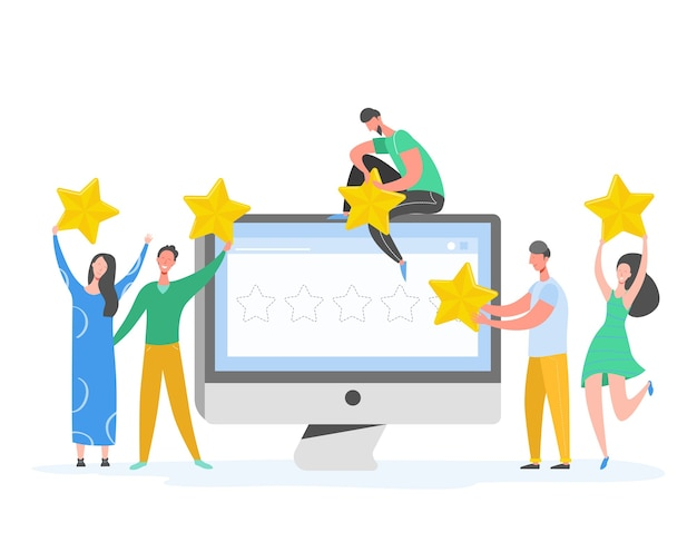 Review concept illustration. people characters holding gold stars. men and women rate services and user experience. five stars positive opinion, good feedback. cartoon