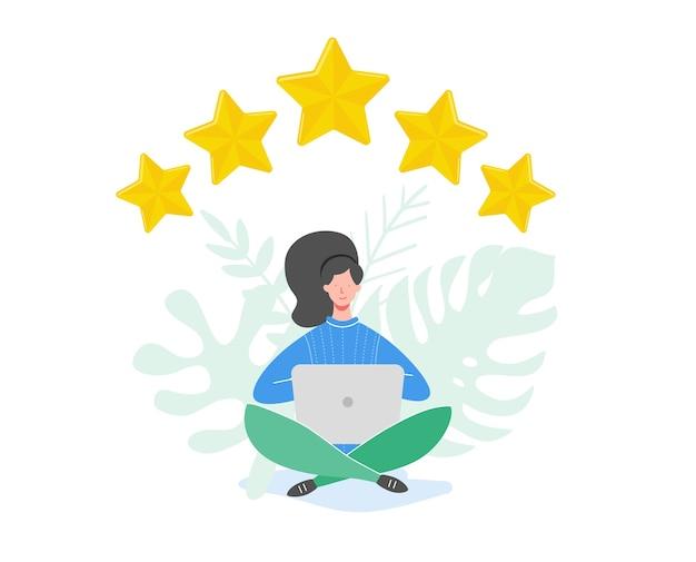 概念図を確認します。金の星を持っている人のキャラクター。女性はラップトップを使用してサービスとユーザーエクスペリエンスを評価します。 5つ星の肯定的な意見、良いフィードバック。漫画