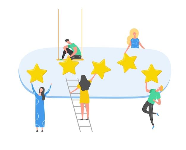 概念図を確認します。金の星で良いフィードバックを書く女性キャラクター。ラップトップを使用した顧客評価サービスとユーザーエクスペリエンス。 5つ星の肯定的な意見。漫画