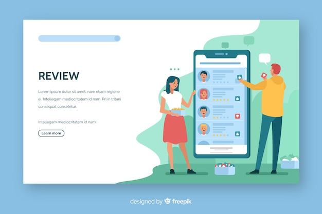Review concept landing page flat design