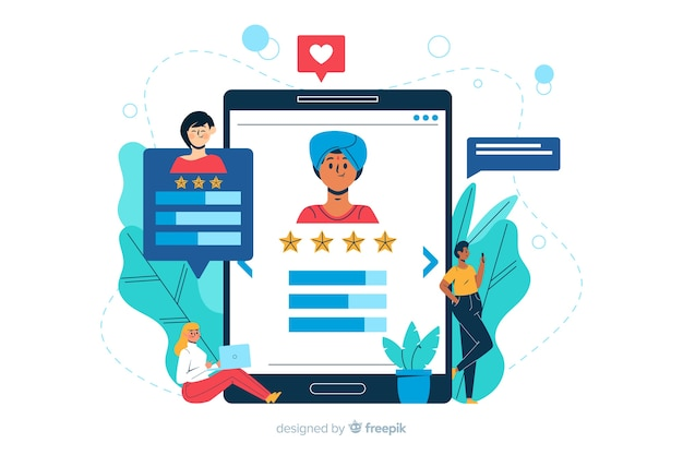Review concept landing page illustration