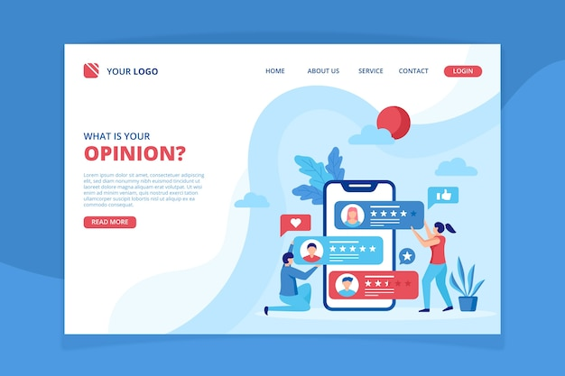 Review concept landing page template