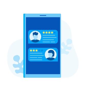 レビュー、フィードバック、スマートフォンでのバブルスピーチの評価