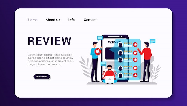 Review landing page template, flat design