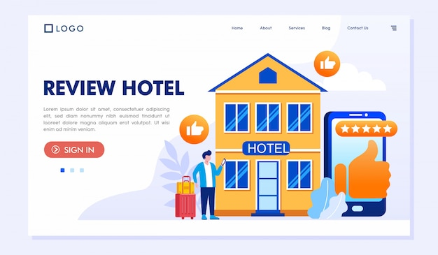 Review landing page website illustration