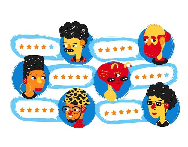 評価バブルスピーチと人々のアバターを確認します。シンプルなフラットスタイルの漫画のキャラクターのイラストアバターアイコンのデザイン。決定の概念、人々の格付けシステム、星の評価アプリの概念を確認します。