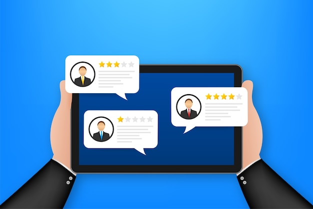 Review rating bubble speeches on tablet illustration