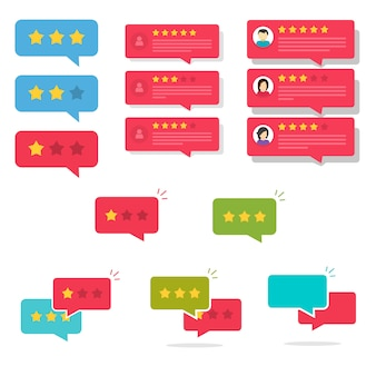 Review rating bubble speeches or testimony feedback chat messages with good and bad rate stars set illustration flat cartoon
