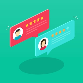 Review rating bubble speeches or testimony feedback messages isometric illustration flat cartoon