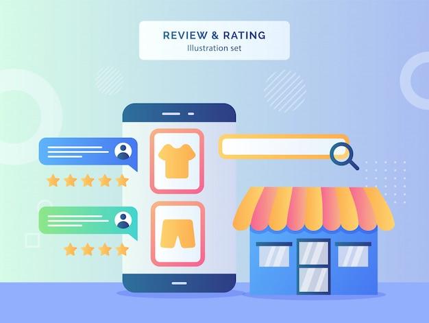 フラットスタイルのファサードストアの衣料品ディスプレイスマートフォン画面の背景に顧客からの評価概念フィードバックコメント率をレビューします。