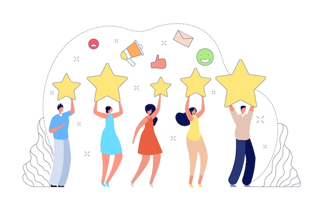 Review rating. good rate, people giving feedback. client or customer online score, five star rank or high media quality vector illustration. feedback review, success rate and client satisfaction