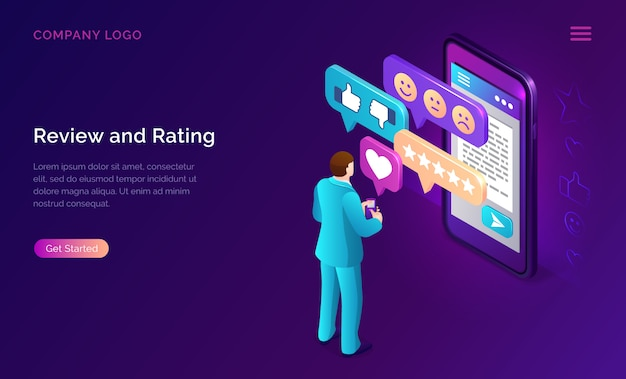 Review and rating isometric landing page banner