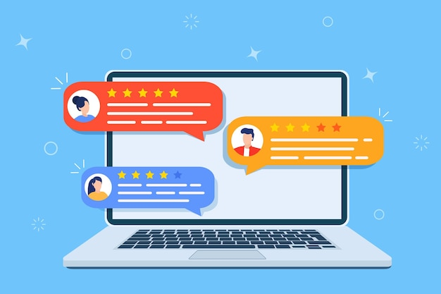 Review rating testimonials online on computer screen