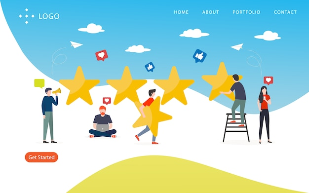 Review rating, website template,  layered, easy to edit and customize, illustration concept