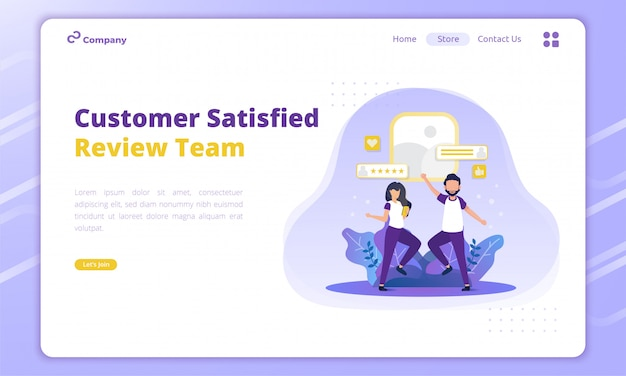 Review team's illustration for of customer feedback concept on landing page
