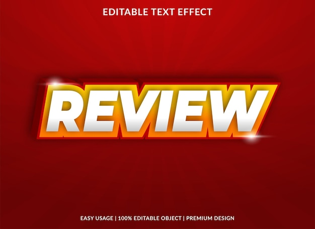 Review text effect template with bold style