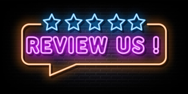 Review us neon signs vector design neon style