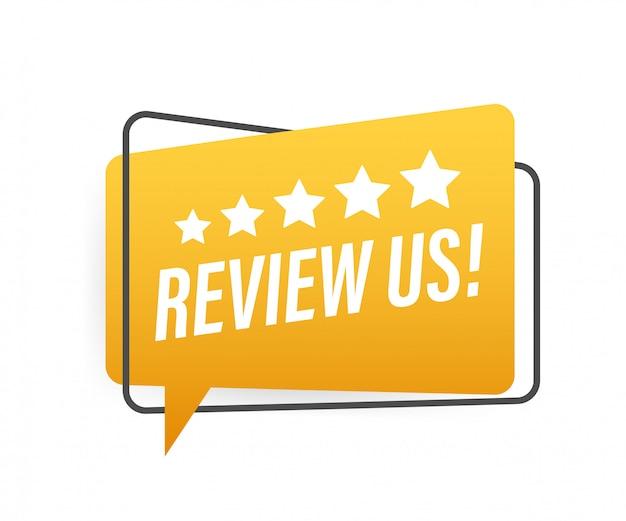Ознакомьтесь с нами концепция рейтинга пользователей. просмотрите и оцените нас звезд. бизнес-концепция иллюстрации.