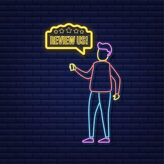 Просмотрите нашу концепцию оценки пользователей. просмотрите и оцените нас звезды неоновая иконка. бизнес-концепция. векторная иллюстрация.