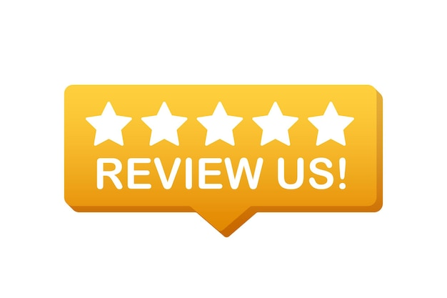 Review us user rating concept. review and rate us stars. business concept. vector illustration