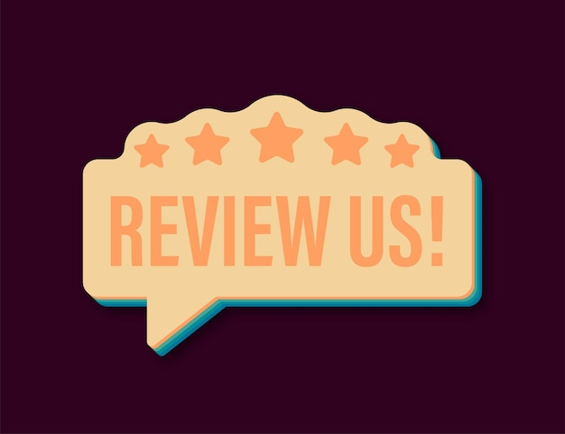 Review us user rating concept review and rate us stars retro icon business concept