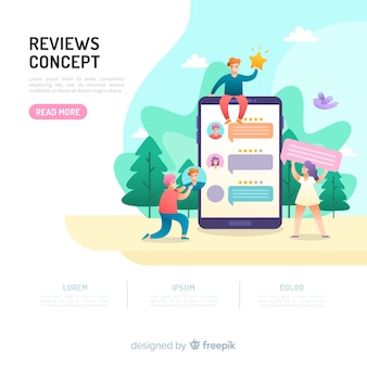 Reviews concept for landing page