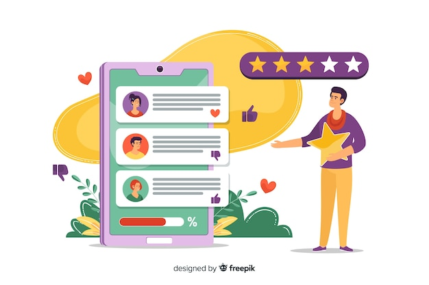Reviews concept for landing page Free Vector