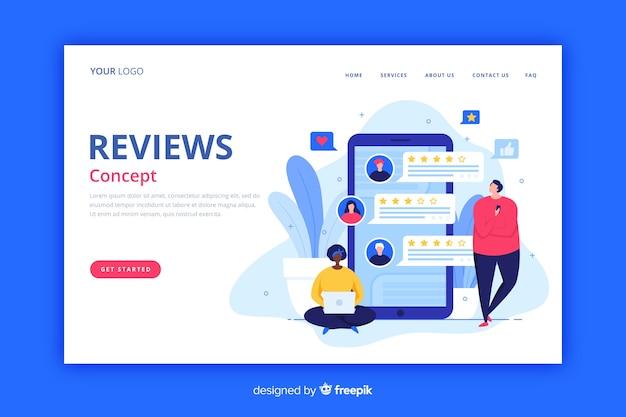 Reviews landing page flat style