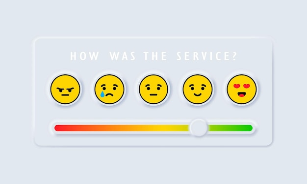 Reviews or rating scale with emoji representing different emotions