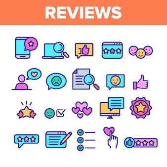 Reviews thin line icons set