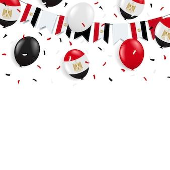 День революции египет. гирлянда с флагом и воздушными шарами.