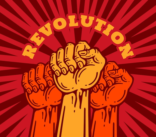 Revolution of people holding their fists up