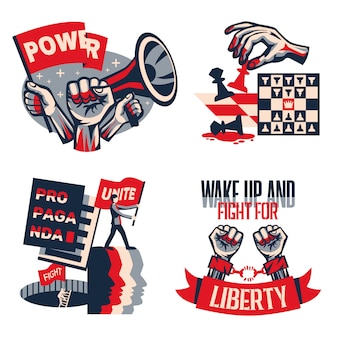 Revolution political slogans concept 4 vintage constructivist compositions set with calls unity liberty freedom isolated
