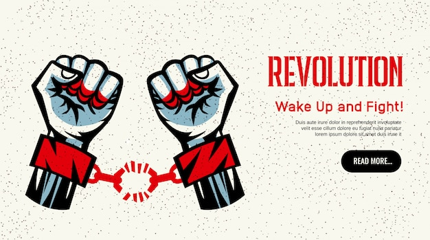 Революция, пропагандирующая домашнюю страницу, конструктивистский дизайн в винтажном стиле со сломанной наручниками.