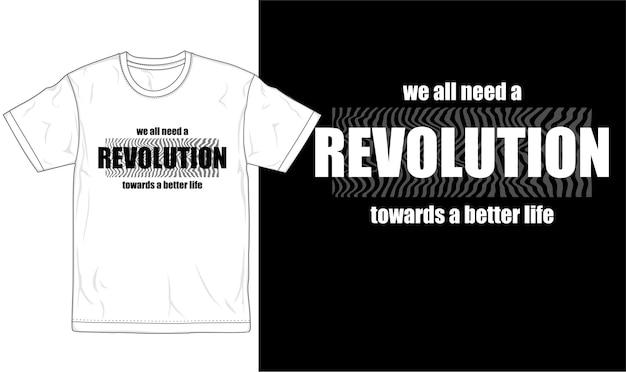 혁명 견적 티셔츠 디자인 그래픽 벡터