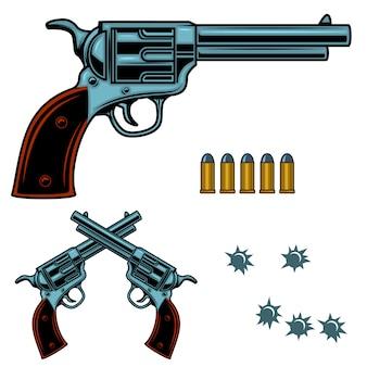 リボルバーのカラフルなイラスト。銃弾と穴。ポスター、エンブレム、看板、バナーの要素。画像