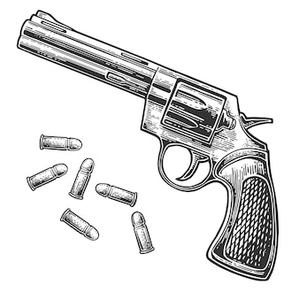 Revolver with bullets. engraving vintage illustration