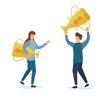 プレゼンテーションの受賞者に報酬を与えます。幸せな人々がゴールドカップを獲得し、キャラクターが踊り、勝利を祝います。ゴールデンカップ賞を受賞したチーム、勝利を祝う人々、リーダーシップの成果、勝利。