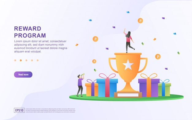 Reward program concept design, people getting cash rewards and gift from online shopping