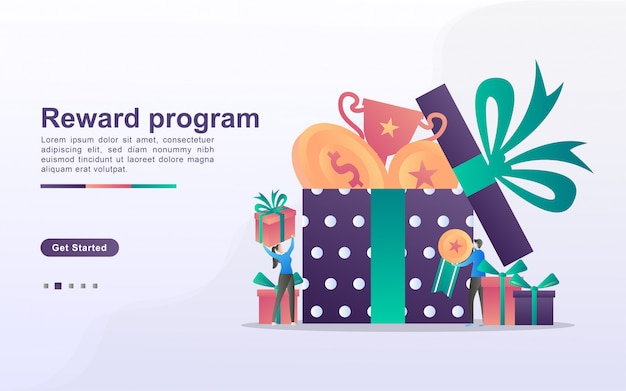 Reward program and get gift concept. people win sweepstakes, cash back programs, rewards for loyal customers, attractive offers. can use for web landing page, banner, mobile app.