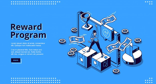 Reward program isometric landing page, cashback