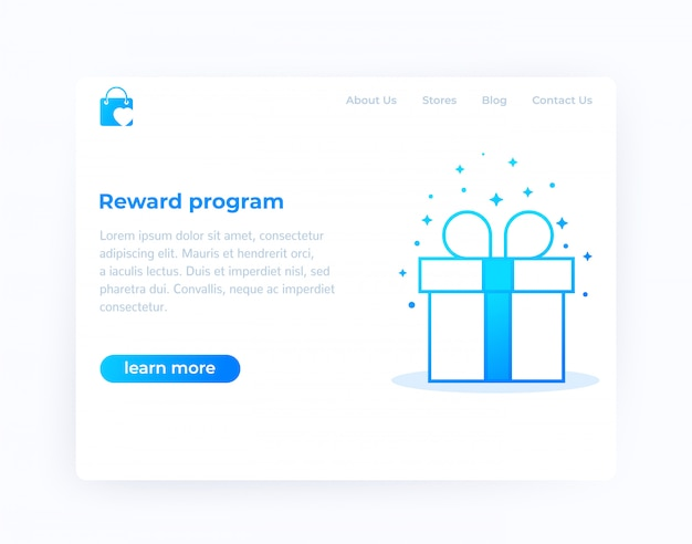 Reward program, website design, vector template
